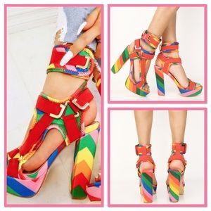 Rainbow 🌈 Chunky Heel Sandals